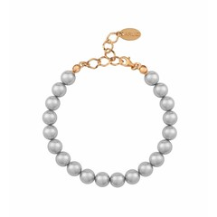 Pearl bracelet light grey - silver rose gold plated - 1125