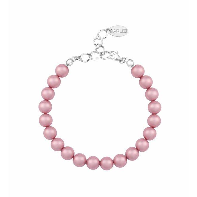 Parel armband roze - sterling zilver - 1131