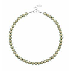 Perlenhalskette grün 8mm - Sterling Silber - 1171