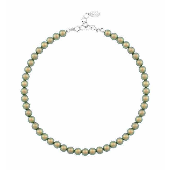 Pearl necklace green 8mm - sterling silver - 1171