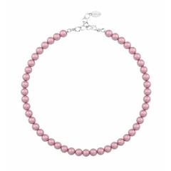Perlenhalskette rosa 8mm - Sterling Silber - 1173