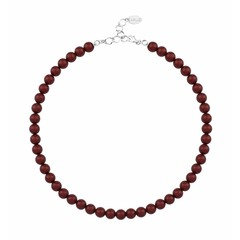 Parelketting rood 8mm - sterling zilver - 1169