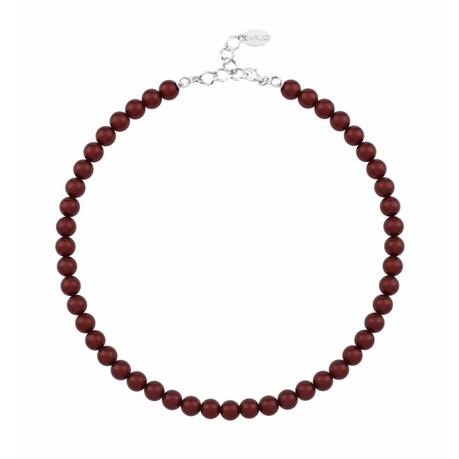 Pearl necklace bordeaux red 8mm - sterling silver - ARLIZI 1169 - Noa