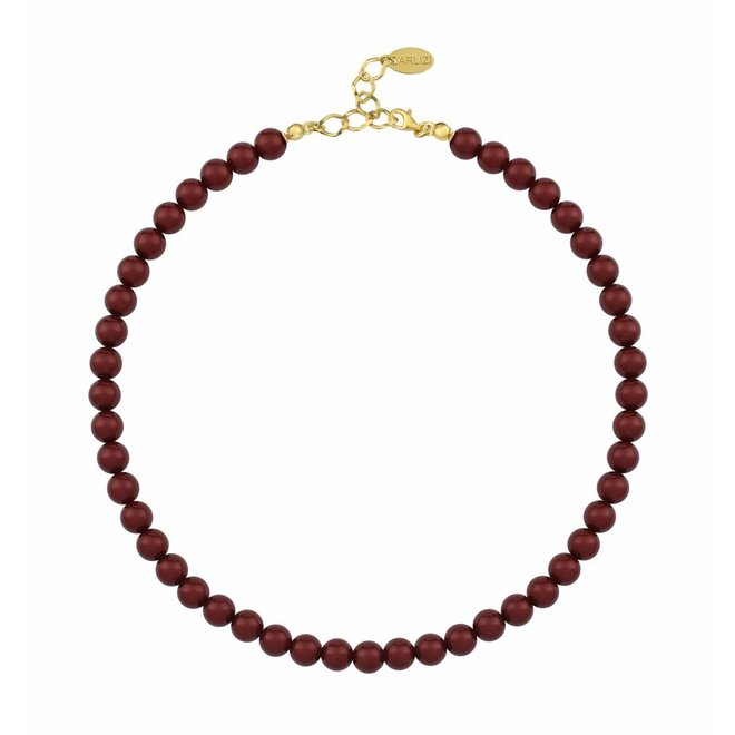 Pearl necklace red 8mm - silver gold plated - 1170