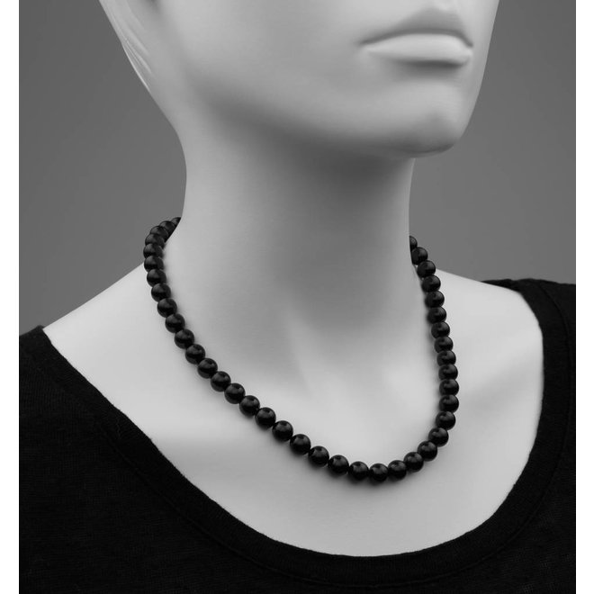 Pearl necklace black 8mm - rose gold plated sterling silver - ARLIZI 1112 - Noa