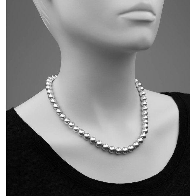 Pearl necklace light grey 8mm - rose gold plated sterling silver - ARLIZI 1162 - Noa