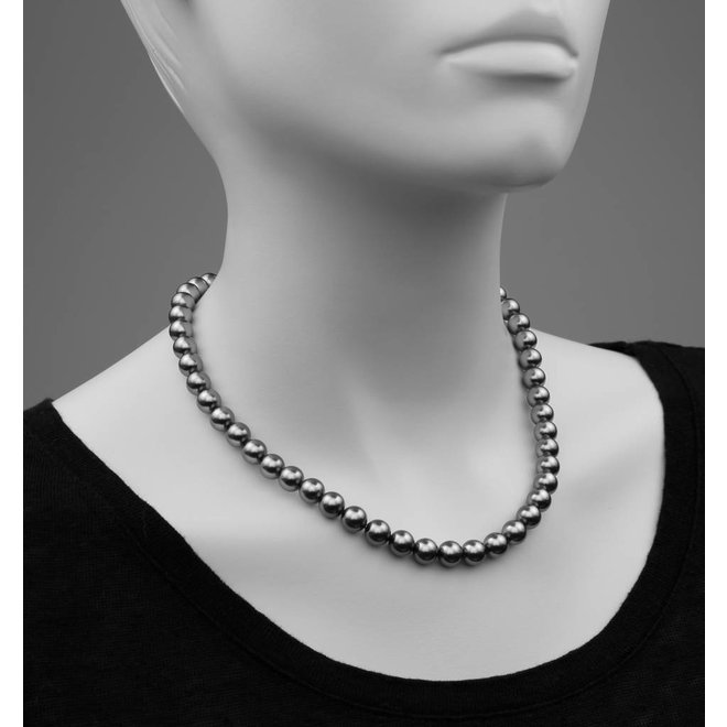 Pearl necklace dark grey 8mm - rose gold plated sterling silver - ARLIZI 1165 - Noa