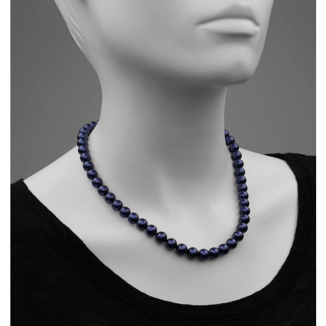 Pearl necklace dark blue 8mm - gold plated sterling silver - ARLIZI 1167 - Noa