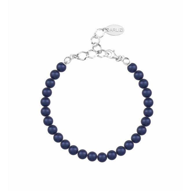 Perlenarmband blau 6mm - Sterling Silber - 1144