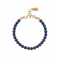Pearl bracelet blue 6mm - silver rose gold plated - 1146