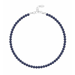 Parelketting blauw 6mm - sterling zilver - 1189