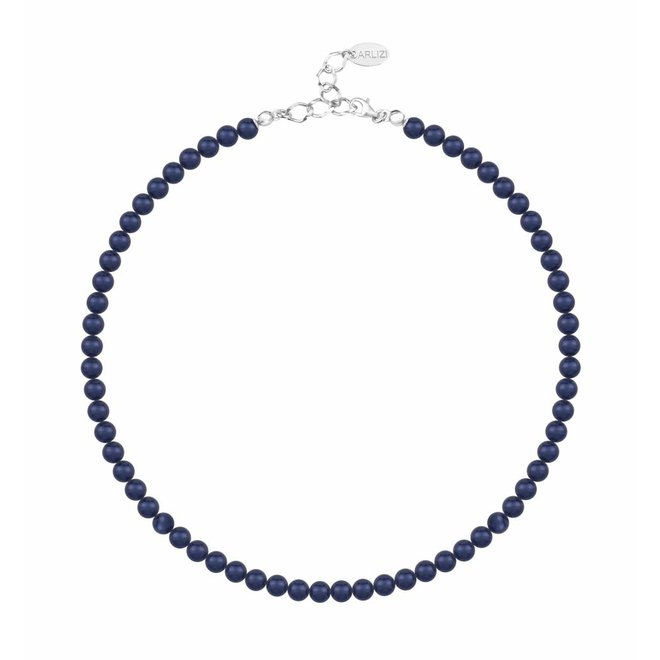 Pearl necklace blue 6mm - sterling silver - 1189