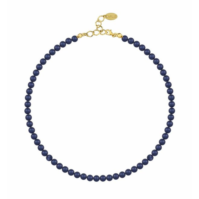 Pearl necklace dark blue 6mm - gold plated sterling silver - ARLIZI 1190 - Noa