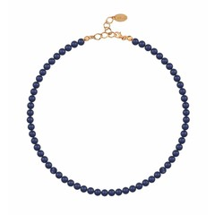Pearl necklace blue 6mm - silver rose gold plated - 1191