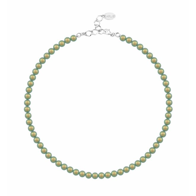 Pearl necklace green 6mm - sterling silver - 1194