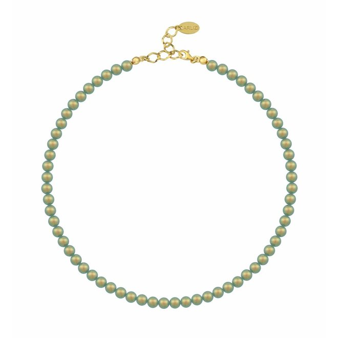 Pearl necklace green 6mm - silver gold plated - 1195
