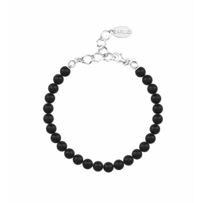 Parel armband zwart 6mm - sterling zilver - 1135