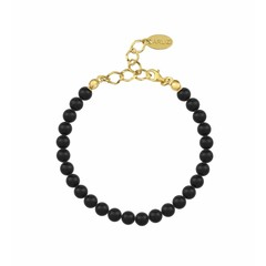 Pearl bracelet black 6mm - silver gold plated - 1136