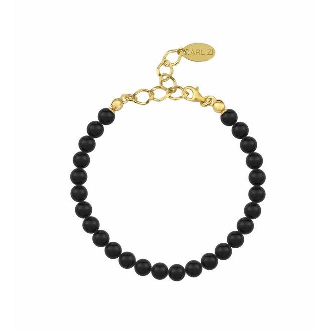 Pearl bracelet black 6mm - silver gold plated - 1136