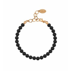 Pearl bracelet black 6mm - silver rose gold plated - 1137