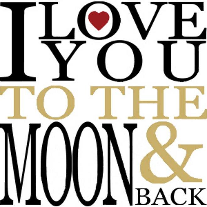 Wenskaart - love you to the moon