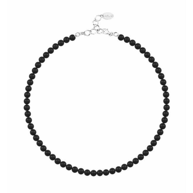 Perlenhalskette schwarz 6mm - Sterling Silber - 1175