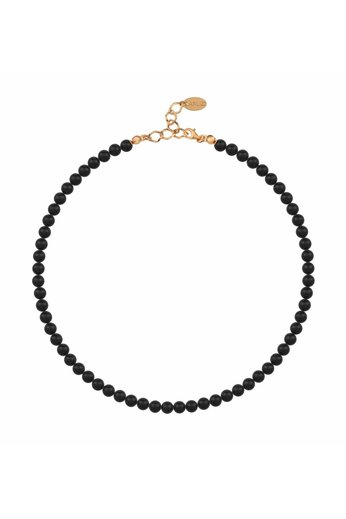 Pearl necklace black 6mm - rose gold plated sterling silver - ARLIZI 1177 - Noa