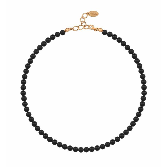 Pearl necklace black 6mm - silver rose gold plated - 1177