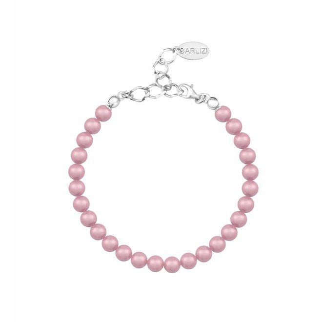 Perlenarmband pulver rosa 6mm - Sterling Silber - ARLIZI 1149 - Noa