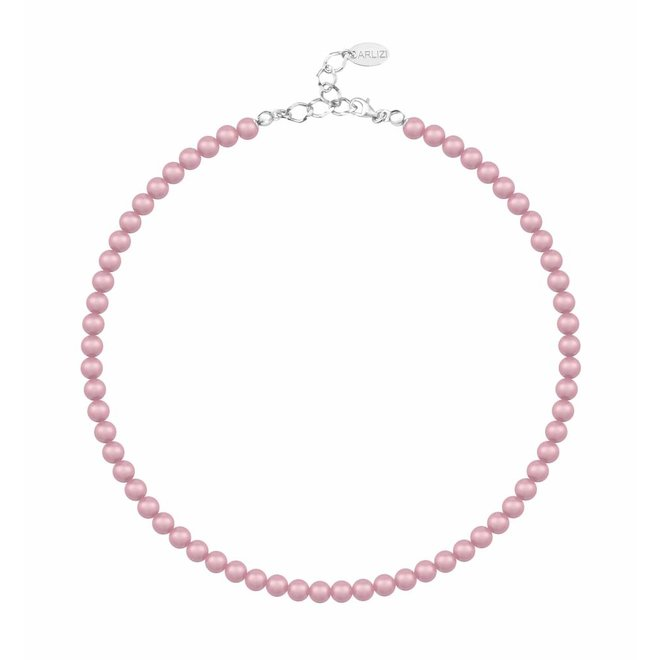 Pearl necklace pink 6mm - sterling silver - 1196