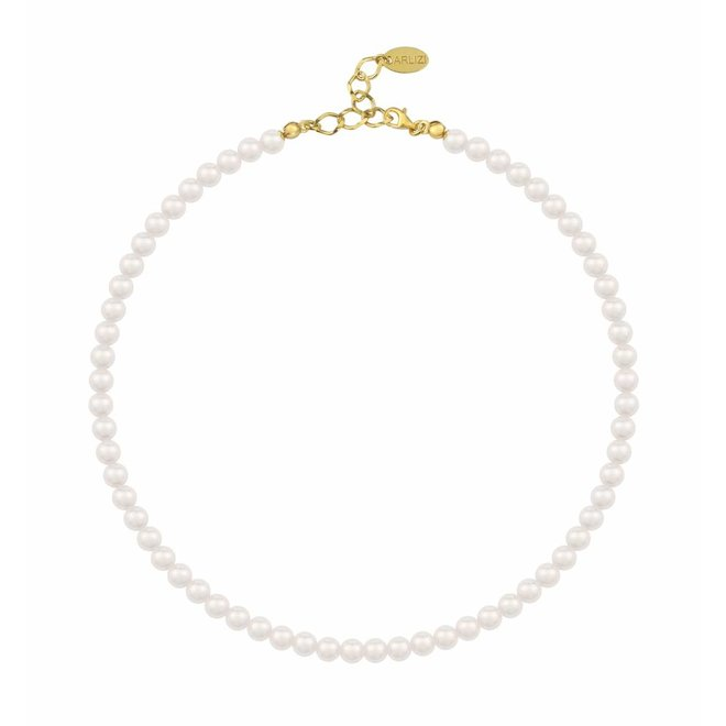 Perlenhalskette weiß 6mm - Silber vergoldet - 1179