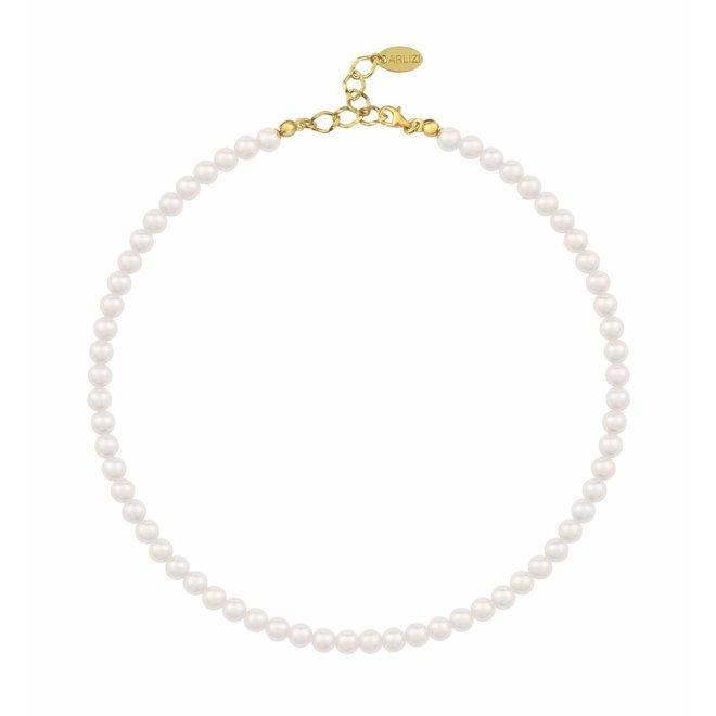 Perlenhalskette weiß 6mm - Sterling Silber vergoldet - ARLIZI 1179 - Noa