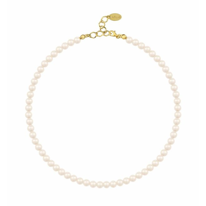Pearl necklace cream 6mm - silver gold plated - 1182