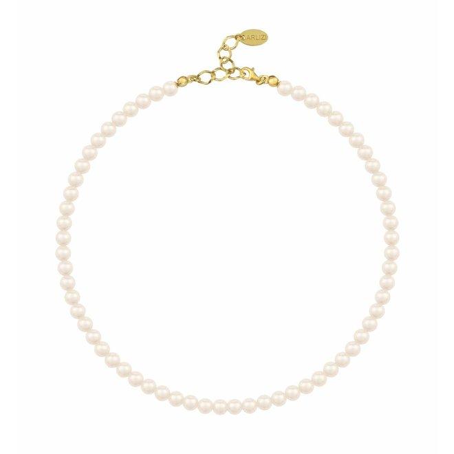 Perlenhalskette creme 6mm - Silber vergoldet - 1182