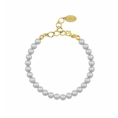 Pearl bracelet grey 6mm - silver gold plated - 1139