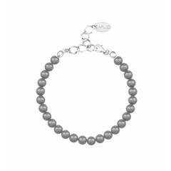 Parel armband grijs 6mm - sterling zilver - 1141