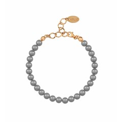 Pearl bracelet grey 6mm - silver rose gold plated - 1143