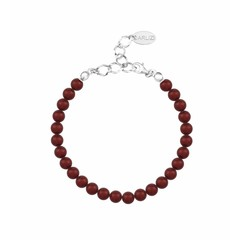 Pearl bracelet red 6mm - sterling silver - 1147