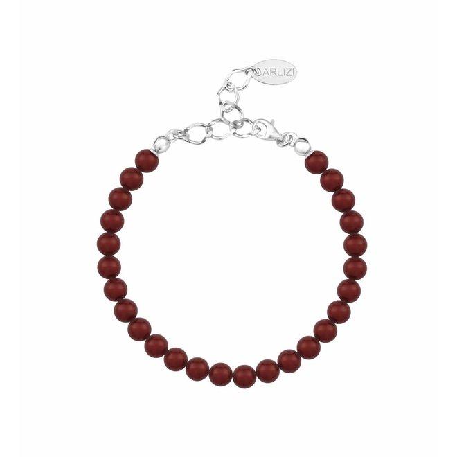 Parel armband bordeaux rood 6mm - sterling zilver - ARLIZI 1147 - Noa