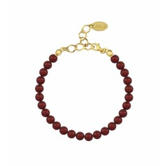 Pearl bracelet red 6mm - silver gold plated - 1148