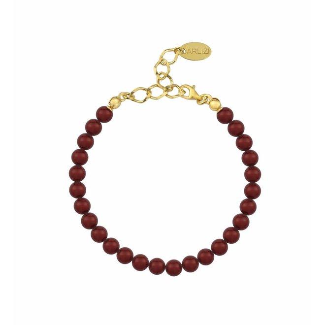Pearl bracelet bordeaux red 6mm - gold plated sterling silver - ARLIZI 1148 - Noa