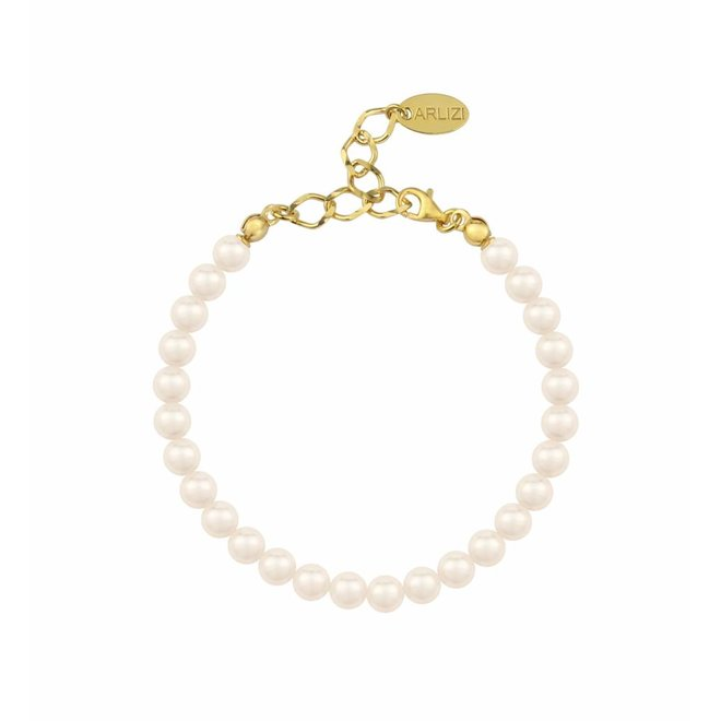 Pearl bracelet cream 6mm - gold plated sterling silver - ARLIZI 1154 - Noa