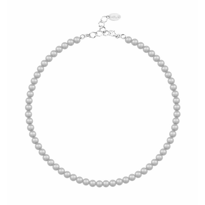 Pearl necklace grey 6mm - sterling silver - 1183