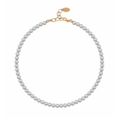 Pearl necklace grey 6mm - silver rose gold plated - 1185