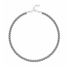 Pearl necklace dark grey 6mm - sterling silver - 1186