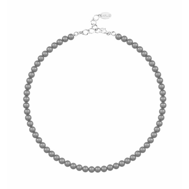 Parelketting donkergrijs 6mm - sterling zilver - 1186
