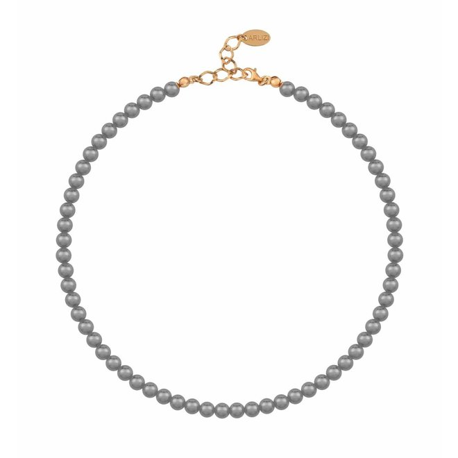 Pearl necklace dark grey 6mm - silver rose gold plated - 1188