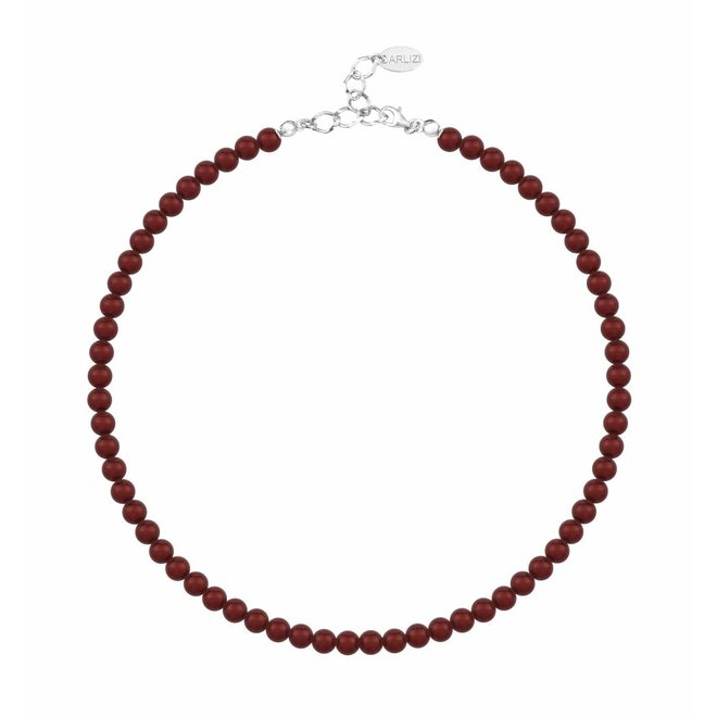 Parelketting rood 6mm - sterling zilver - 1192