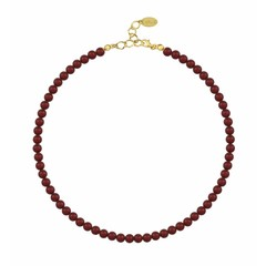 Perlenhalskette rot 6mm - Silber vergoldet - 1193