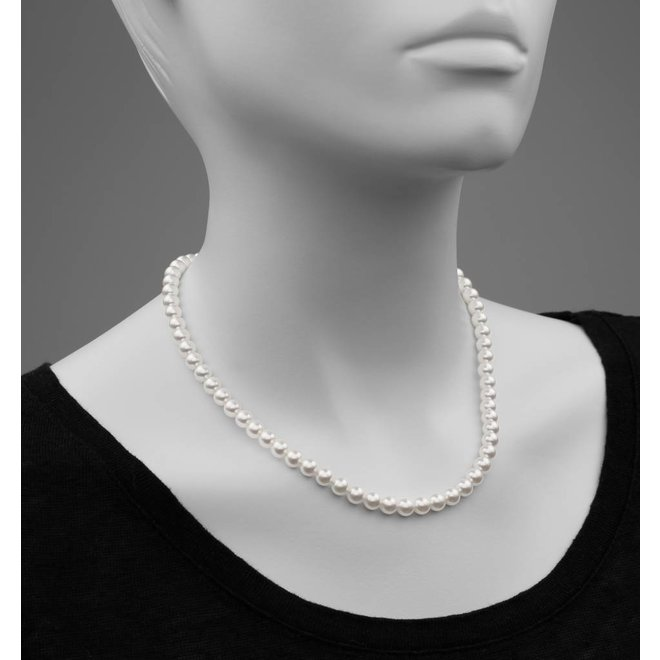 Pearl necklace white 6mm - rose gold plated sterling silver - ARLIZI 1180 - Noa
